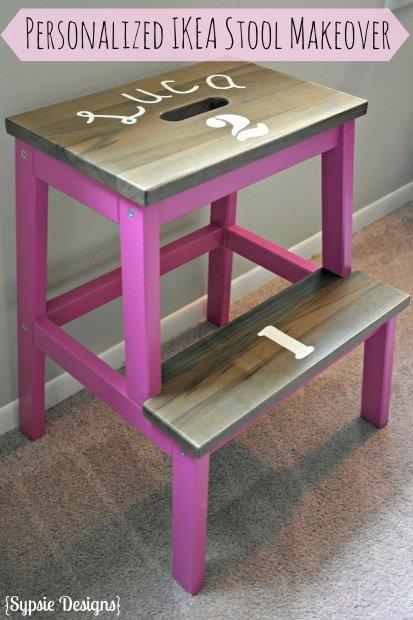 Personalized Pink IKEA Stool