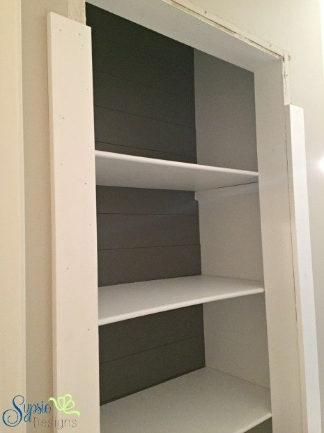 One Room Challenge - Bathroom Closet to Built-in Shelving - Sypsie.com