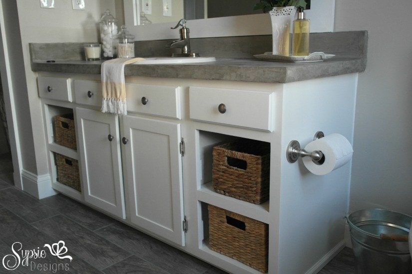 Builder Grade Bathroom Vanity Makeover (Plus Tutorial!) - Sypsie Designs