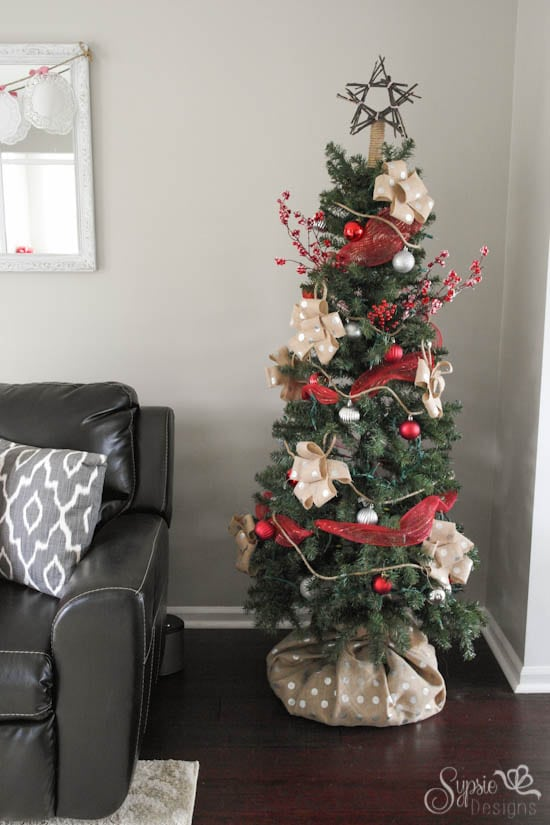 burlap christmas tree skirt alternative how we hid our ugly tree base in less than