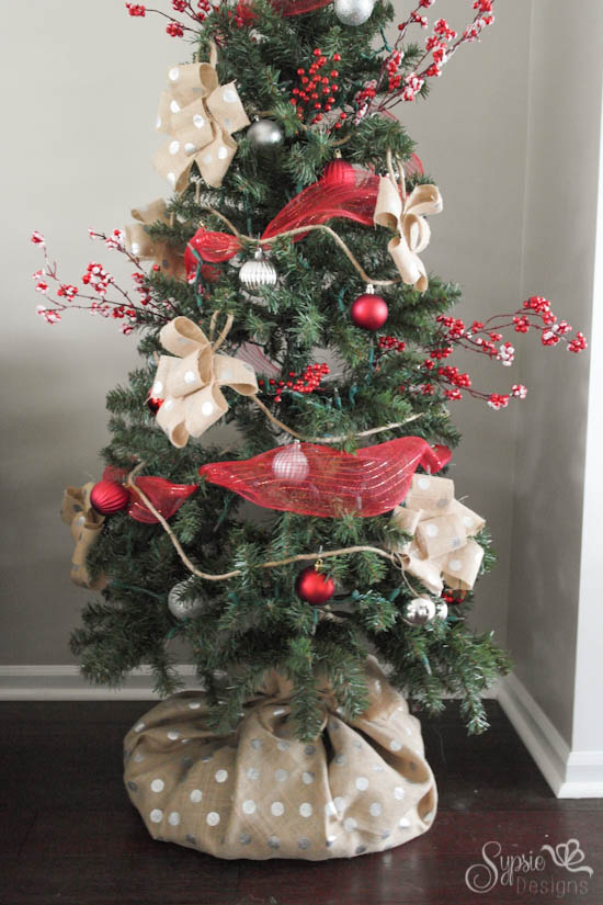 Burlap Christmas Tree Skirt Alternative - How we hid our ugly tree base in less than 5 minutes - Sypsie Designs