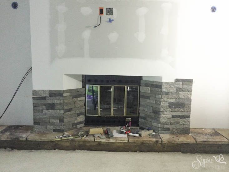 "Airstone & Easy Rustic Fireplace ""Reclaimed Wood"" Mantle How-To - Sypsie Designs"