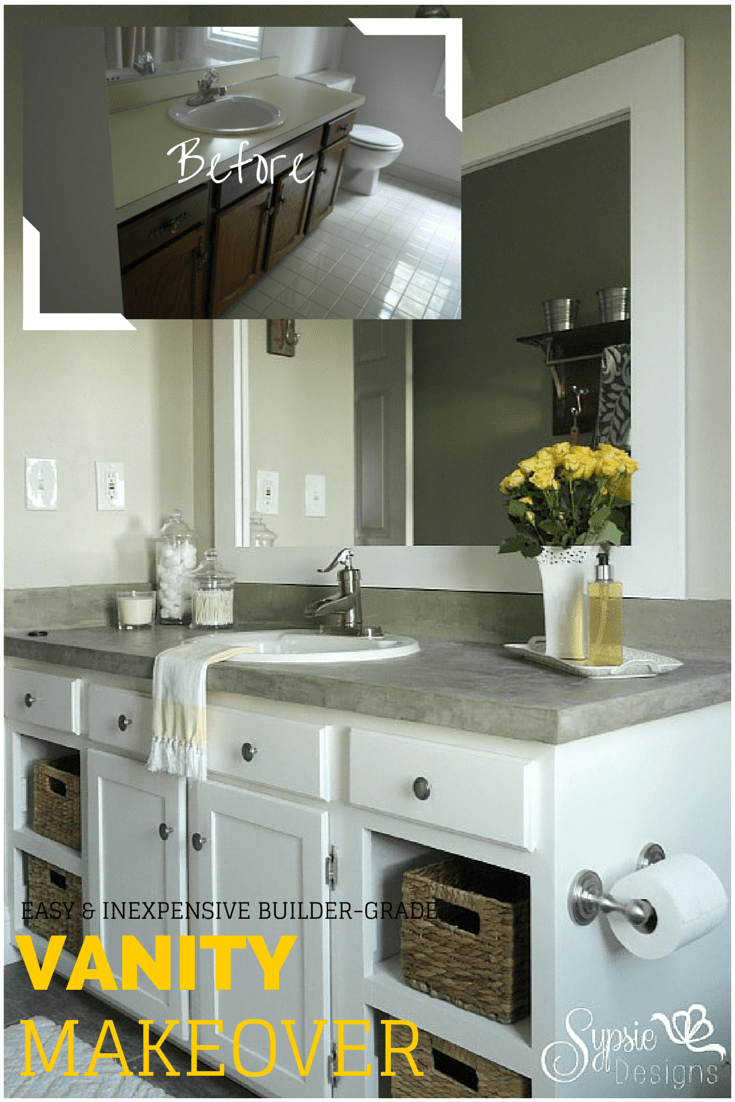 Old builder grade bathroom vanity makeover plus tutorial for The bathroom builders