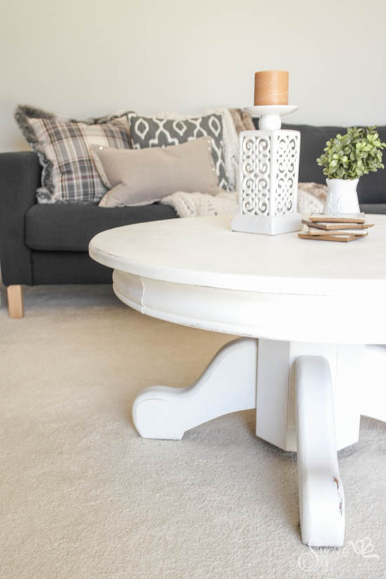White Rustic Coffee Table Makeover - Sypsie Designs