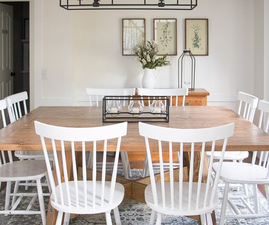 White Farmhouse Dining Room Reveal