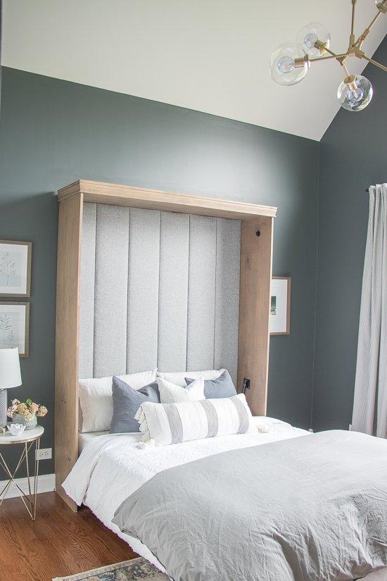 Den Makeover - Ribbed Headboard Murphy Bed Makeover - Sypsie.com