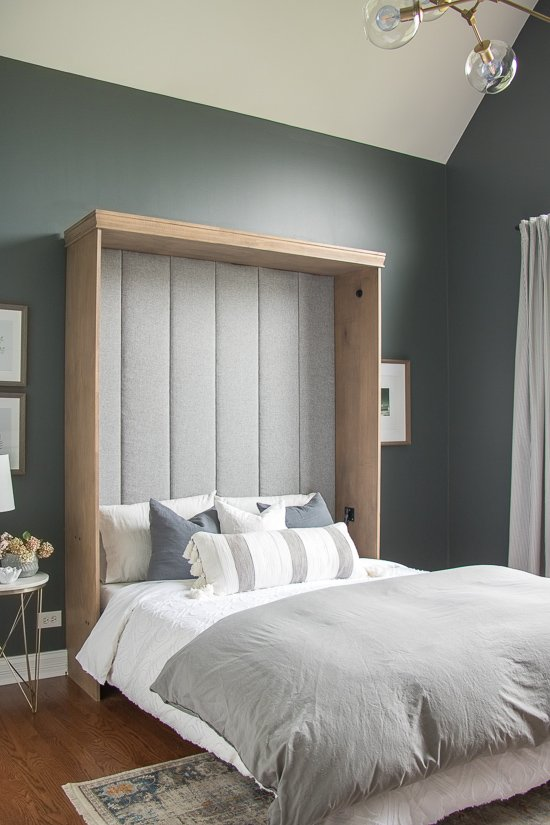 Den Makeover - Ribbed Headboard Murphy Bed Makeover - Sypsie.com